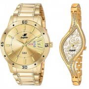 Espoir Analog Stainless Steel 18k Gold Plated Golded Dial Couple's Watch - Golden-Latest9710