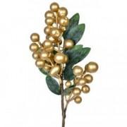 Decoratiune brad crenguta globuri aurii