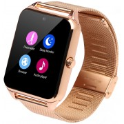 Ceas Smartwatch cu Telefon iUni GT08s Plus, Curea Metalica, Touchscreen, BT, Camera, Notificari, Antizgarieturi, Gold