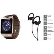 Zemini DZ09 Smart Watch and QC 10 Bluetooth Headphone for SAMSUNG GALAXY STAR ADVANCE(DZ09 Smart Watch With 4G Sim Card Memory Card| QC 10 Bluetooth Headphone)