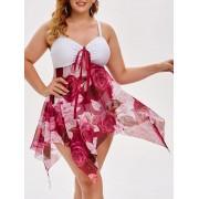 Rosegal Maillot de Bain Tankini Mouchoir Fleuri en Maille Transparente de Grande Taille L