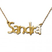 Personalized Men's Jewelry Tempus Style 14K Gold Name Necklace 101-01-097-01