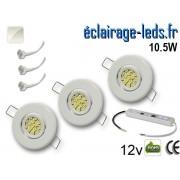 Kit Spot MR11 orientable blanc 15 LED blanc naturel perçage 53mm 12V ref kmr11-01
