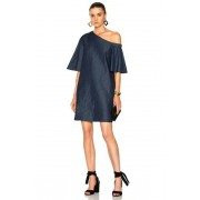 Tibi One Shoulder Bell Sleeve Dress in Blue. - size 2 (also in 0,4,6)