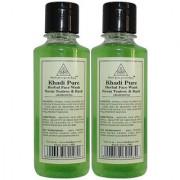 Khadi Pure Herbal Neem Teatree Basil Face Wash - 210ml (Set of 2)