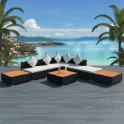 vidaXL Set mobilier de grădină 18 piese, poliratan, blat WPC, negru