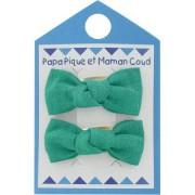 Papa Pique et Maman Coud Barrettes clic-clac petits noeuds - Vert laurier