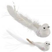 Shoppartners Kerstboom decoratie vogeltje op clip wit 2 stuks