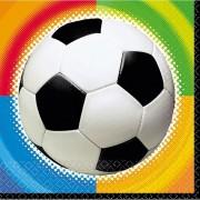 32x Voetbal themafeest servetten gekleurde achtergrond 25 x 25 cm papier - voetbal thema papieren wegwerp tafeldecoraties.