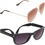 Aligatorr Wayfarer, Aviator Sunglasses(Brown, Grey)