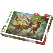 Puzzle clasic pentru copii - Tyrannosauri in lupta Dinozauri 160 piese