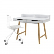 [en.casa] Escritorio retro + silla blanco mesa de ordenador consola mesa de diseño