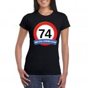 Bellatio Decorations Verkeersbord 74 jaar t-shirt zwart dames