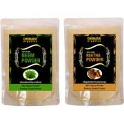 Donnara Organics 100% Natural Neem Powder and Reetha powder Combo pack of 2 of 150 gms(300 gms)