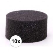 Merkloos 10 stuks zwarte schmink / make up sponsjes rond
