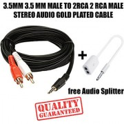 3.5MM AUX MALE TO 2RCA MALE STEREO AUDIO Cable For game console systems speakers and more + Free Audio Splitter