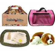 Perfect Petzzz Breathing Cavalier King Charles Plush Puppy Dog with Pink Tote For Plush Breathing Pet