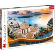 Puzzle peisaj marin si biserica pe malul marii Mediterana 500 piese
