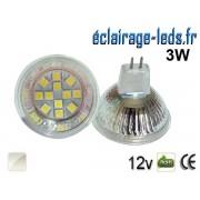 Ampoule LED MR16 12 led smd 5050 blanc naturel 12v 60°