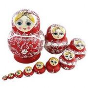 10Pcs Cutie Lovely Red And White Porcelain Nesting Dolls Matryoshka Madness Russian Doll Popular Handmade Kids Girl Gift