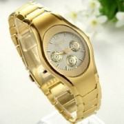 Rosra Oval Dial Black Gold Metal Analog Watch For Women