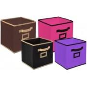 Billion Designer Non Woven 4 Pieces Small & Large Foldable Storage Organiser Cubes/Boxes (Black & Coffee & Pink & Purple) - CTKTC35353 CTLTC035353(Black & Coffee & Pink & Purple)