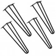 [en.casa]® Stylové stolové nohy 3 – sada noh (4 kusová) - 45 cm - černé