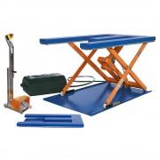 Flachform-Hubtisch LxB 1450 x 900 mm, Hubbereich bis 800 mm, Plattform E-Form 400 V, mit Fuß-Bedienelement