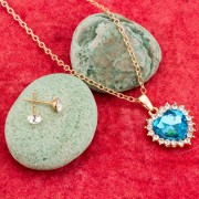 American Diamond Heart Shaped Pendant Set American Diamond Pendant Sets online