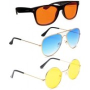 Elligator Aviator, Round, Wayfarer Sunglasses(Orange, Blue, Yellow)