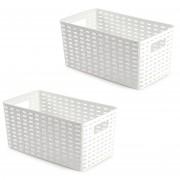 Forte Plastics 6x opbergboxen/opbergmanden rotan wit kunststof - 15 x 28 x 13 cm