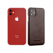 PIERRE CARDIN Genuine Leather Skin Phone Shell for Apple iPhone 11 6.1 inch - Coffee