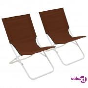 vidaXL Sklopive stolice za plažu 2 kom smeđe
