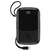 Baterie Externa Baseus, Q Pow 10000 mAh, 2 x USB/USB-C, Cablu Lightning Integrat, Negru