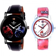 Black Dial 2 Jaguar And Red Peacock Couple Analogue Watch By Vivah Mart
