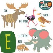 alphabet chart of animal start with e Alphabets and numbers Educational Poster for Kids Learning wall sticker paper poster
