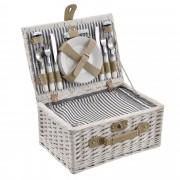 [casa.pro]® Piknik kosár - 4 személyes - evőeszköz, pohár, tányér (fehér)