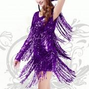 Vestido de Coctel E-Thinker para danza Latina con lentejuelas y flecos - Violeta