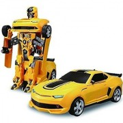 Transforming Car Convert Into Robot Action Figure For Kids Robot Races Car Toy (Battery Operated) 2 in 1 Transform Car Toy with Bright Lights and MusicMulti Color.