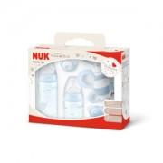 NUK Baby Rose Starter-Set, 5-teilig, blau, Attraktive Erstausstattung als Geschenkbox, 2 x First Choice Flaschen, 2 x Silikon-Schnuller, 1 x Rassel