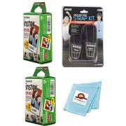Photo High Quality Kit de accesorios: Mini película instantánea (40 hojas) + correa para cuello y muñeca + paño de limpieza para Fujifilm Instax Mini 9, Mini 8, Mini 8+, Mini 7, Mini 7S, cámara de película instantánea