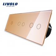 Intrerupator cu touch simplu+dublu+dublu LIVOLO din sticla, auriu