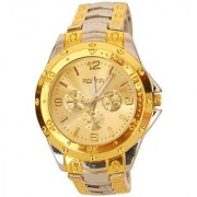 Rosra Golden Dial Mens Analog with Gold and Silver Band Watch