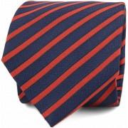 Krawatte Seide Navy Rot Streifen F82-1 - Rot