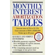 Monthly Interest Amortization Tables: Interest Rates of 2% to 25.75%, Loan Amounts of $50 to $300,000, Terms Up to 40 Years, Paperback