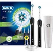 Set 2 periute de dinti Oral-B D16.524 PRO 790 Cross Action, 1 programe, 1 capete, Suport de calatorie (Negru)