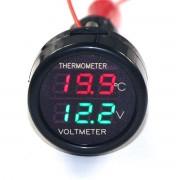 Voltmeter kombinovaný s teplomerom do autozapaľovača 12V/24V (zelený)