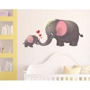 Walltola Wall Sticker-Cute Cartoon Elephant And Calf Playing Theme Kids PVC Wall Stickers