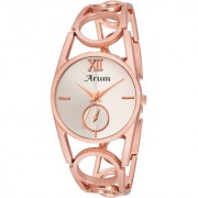 IDIVAS 1White Round Shaped Dial Metal Strap Fashion Wrist Watch for Women's and Girl's