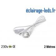 Câble alimentation de 2 mètres sur prise Tube LED T8 et T5 avec interrupteur ref cb-09